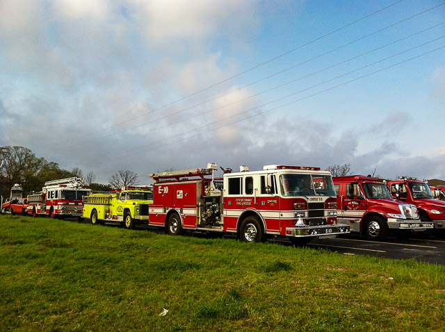 Fire Equipment lined up for the procession.  Departments from all across the State were represented.